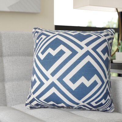 Rhames Geometric Cotton Throw Pillow Color: Blue