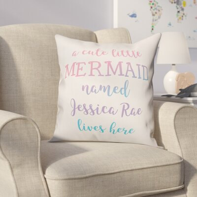 Jarret Personalized Cute Little Mermaid Throw Pillow