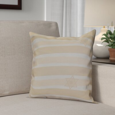 Hanukkah 2016 Decorative Holiday Striped Throw Pillow Size: 16 H x 16 W x 2 D, Color: Cream / Off White