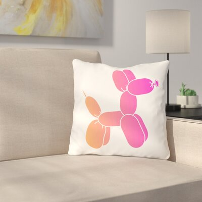 Spahr Dog Throw Pillow Color: Pink, Size: 16 x 16