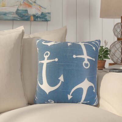 Akole Coastal Cotton Throw Pillow Color: Blue