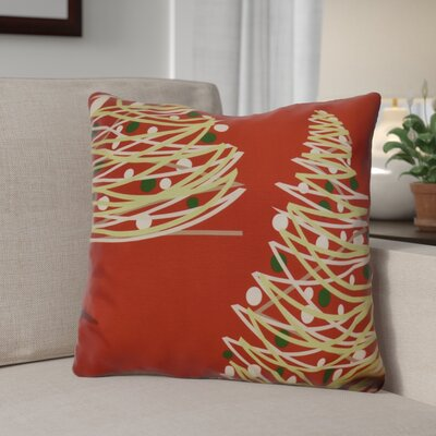 Christmas Tree Throw Pillow Size: 16 H x 16 W, Color: Red