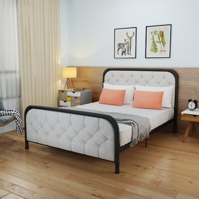 Krouse Industrial Tufted Queen Bed Frame Color: Light Gray/Black