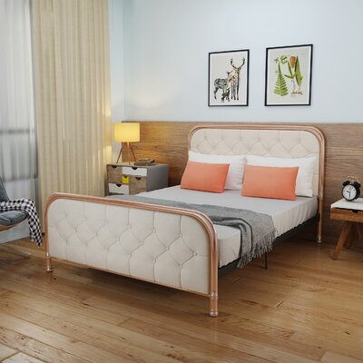 Krouse Industrial Tufted Queen Bed Frame Color: Cr�me/Rose Gold