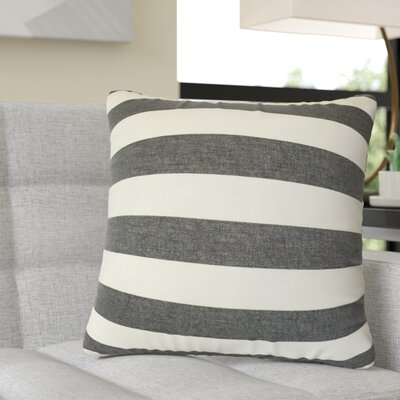 Rivenburg Striped Cotton Throw Pillow Color: Black