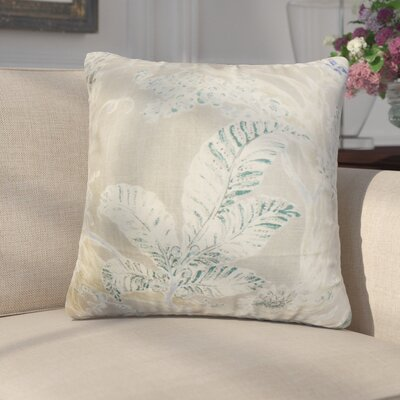 Letizia Floral Linen Throw Pillow Color: Sand Beige