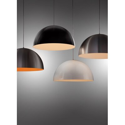 Hillside 1-Light Inverted Pendant Finish: Black, Shade Color: Satin Nickel/Sunrise Orange