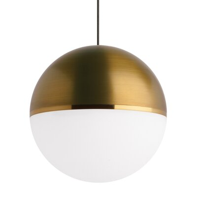 Godwin 1-Light Globe LED Pendant Finish: Aged Brass, Shade Color: Aged Brass/Bright Brass