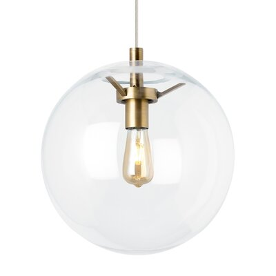 Gosney Globe 1-Light Pendant Finish: Aged Brass, Shade Color: Clear