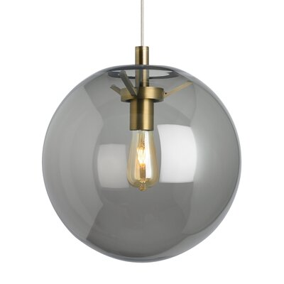 Gosney Globe Pendant Finish: Aged Brass, Shade Color: Smoke