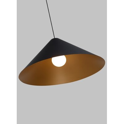 Gorney 1-Light Mini Pendant Finish: Black/Satin Gold