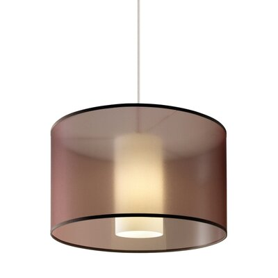 Gosnell 1-Light Drum Pendant Finish: Satin Nickel, Shade Color: Brown