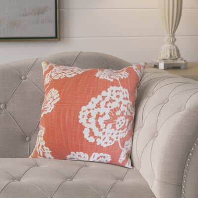 Pieper Floral Cotton Throw Pillow Color: Coral, Size: 18 x 18