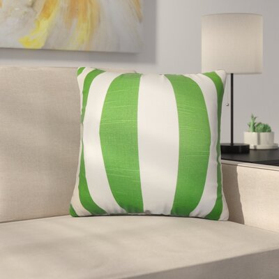 Strauser Stripes Cotton Throw Pillow Color: Green