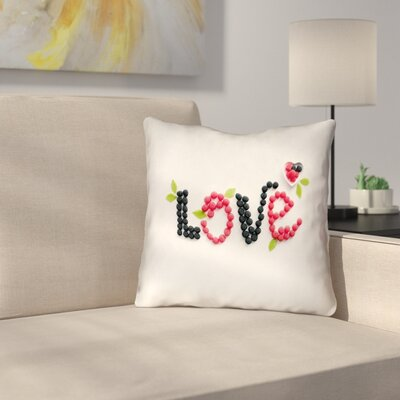 Buoi Love and Berries Outdoor Throw Pillow Size: 16 x 16