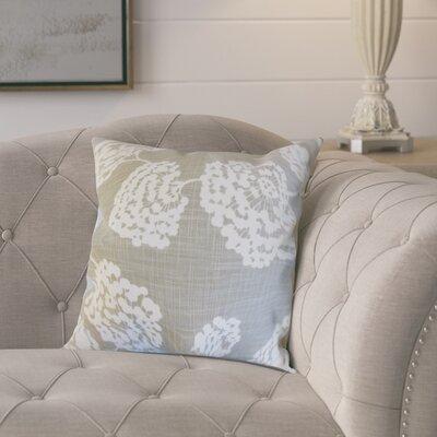 Pieper Floral Cotton Throw Pillow Color: Light Grey, Size: 18 x 18