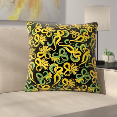 Flowers Throw Pillow Size: 16 H x 16 W x 6 D, Color: Green / Yellow