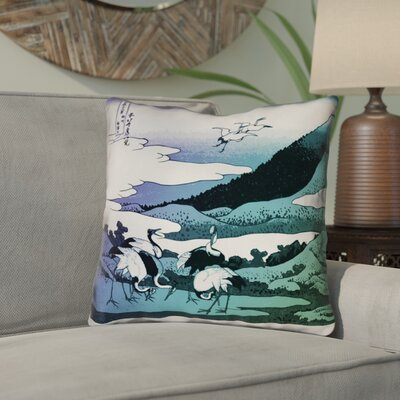 Montreal Japanese Cranes Double Sided Print Indoor Throw Pillow Size: 16 x 16 , Pillow Cover Color: Purple/Green