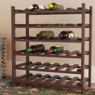 Karnes Pine Stackable 36 Bottle Floor Wine Rack Finish: Walnut Satin