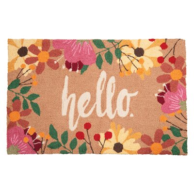 Metro Hello Machine Hooked Tan Indoor Area Rug