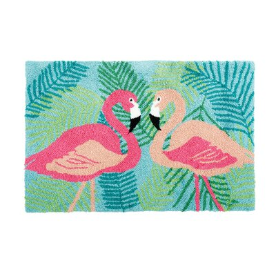 Concord 2 Flamingos Machine Hooked Blue Indoor Area Rug