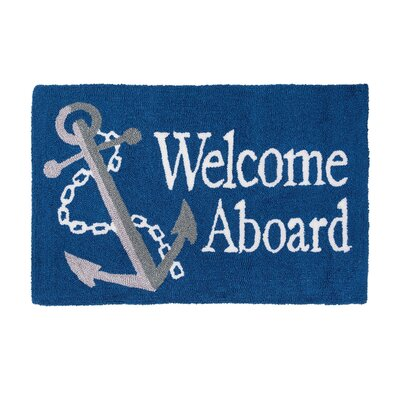 Crosland Welcome Aboard Machine Hooked Blue Indoor Area Rug