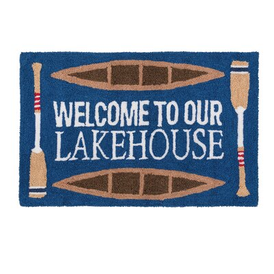 Pellegrino Welcome To Our Lakehouse Machine Hooked Blue Indoor Area Rug