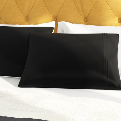 Clervil 800 Thread Count Solid Pillowcase Set Size: Standard, Color: Black