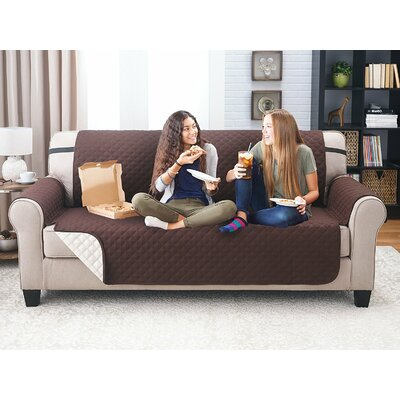Reversible Extra Wide Sofa Slipcover Upholstery: Coffee/Tan