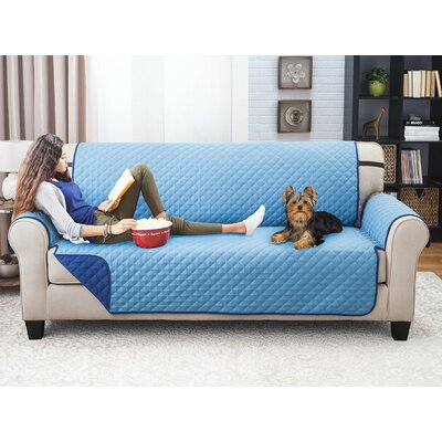 Reversible Sofa Slipcover Upholstery: Blue/Light Blue