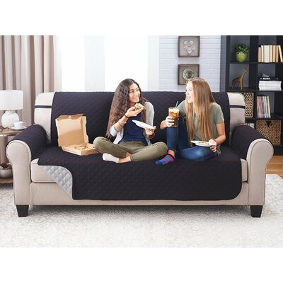 Reversible Sofa Slipcover Upholstery: Black/Gray
