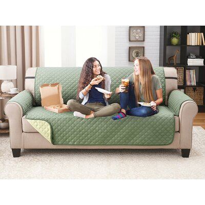 Reversible Extra Wide Sofa Slipcover Upholstery: Olive/Sage