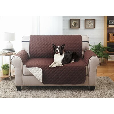Reversible Loveseat Slipcover Upholstery: Coffee/Tan