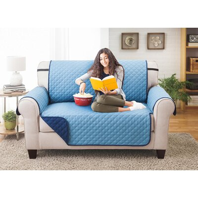 Reversible Loveseat Slipcover Upholstery: Blue/Light Blue