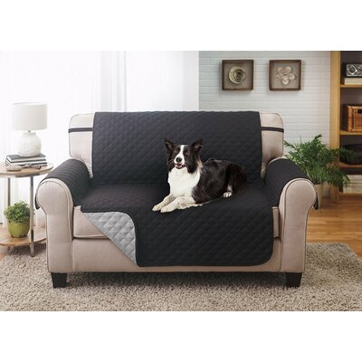 Reversible Loveseat Slipcover Upholstery: Black/Gray
