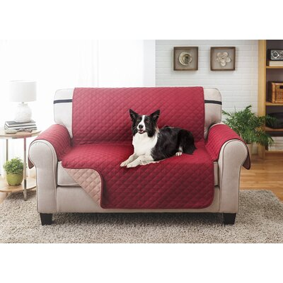 Reversible Loveseat Slipcover Upholstery: Burgundy/Tan