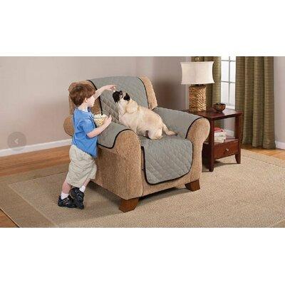 Reversible Armchair Slipcover Upholstery: Black/Gray