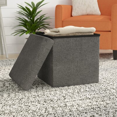 Zosia Foldable Storage Foot Stool Cube Ottoman Upholstery: Dark Ash Grey