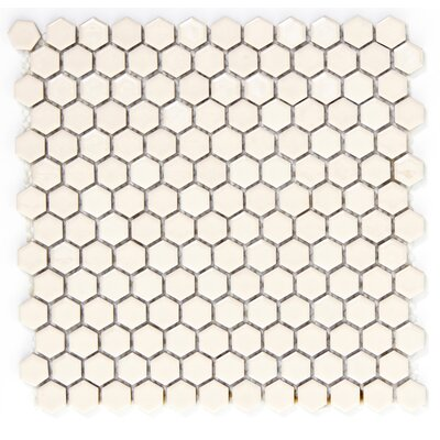 Confetti Hex On 1 x 1 Porcelain Mosaic Tile in Cream