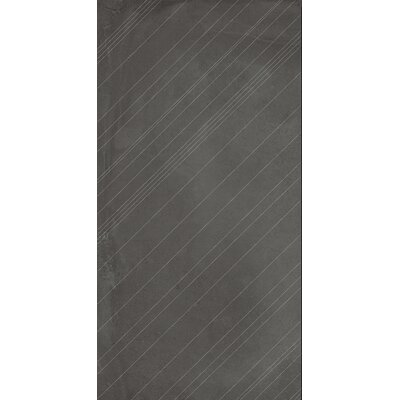 Borigni Diagonal-R 18 x 35 Porcelain Field Tile in Black