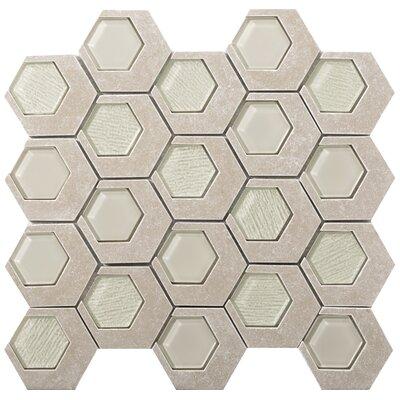 Catalyst 3 x 3 Stone/Glass Mosaic Tile in Jasper