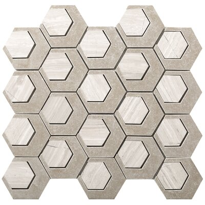 Catalyst 3 x 3 Stone Mosaic Tile in Oxygen