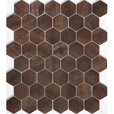 Echo Hex 2 x 2 Glass Mosaic Tile in Brown