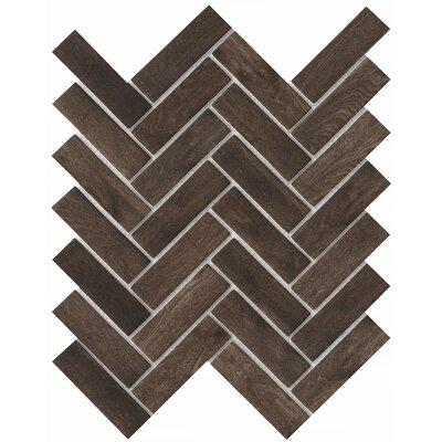Echo Herringbone 1 x 2 Glass Mosaic Tile in Brown