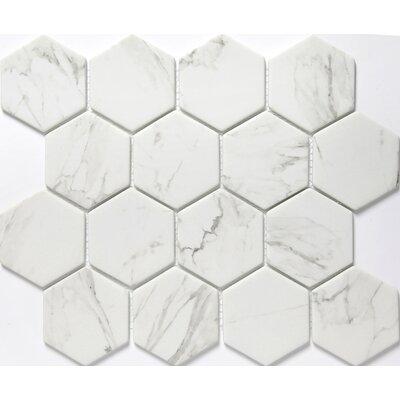 Echo Hex 3 x 3 Glass Mosaic Tile in Calacata