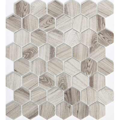 Echo Hex 2 x 2 Glass Mosaic Tile in Gray