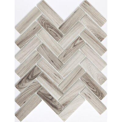 Echo Herringbone 1 x 2 Glass Mosaic Tile in Gray