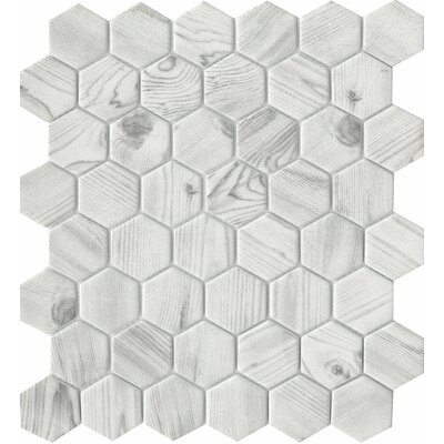 Echo Hex 2 x 2 Glass Mosaic Tile in White