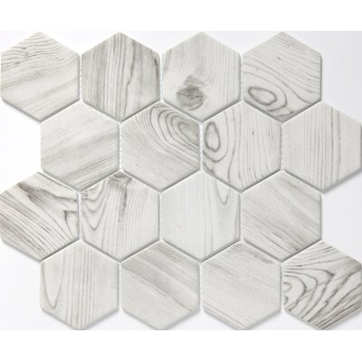 Echo Hex 3 x 3 Glass Mosaic Tile in White