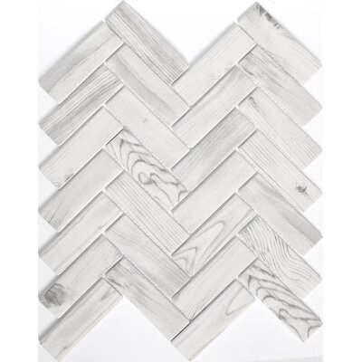 Echo Herringbone 1 x 2 Glass Mosaic Tile in White